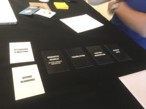 Design cards on a table
