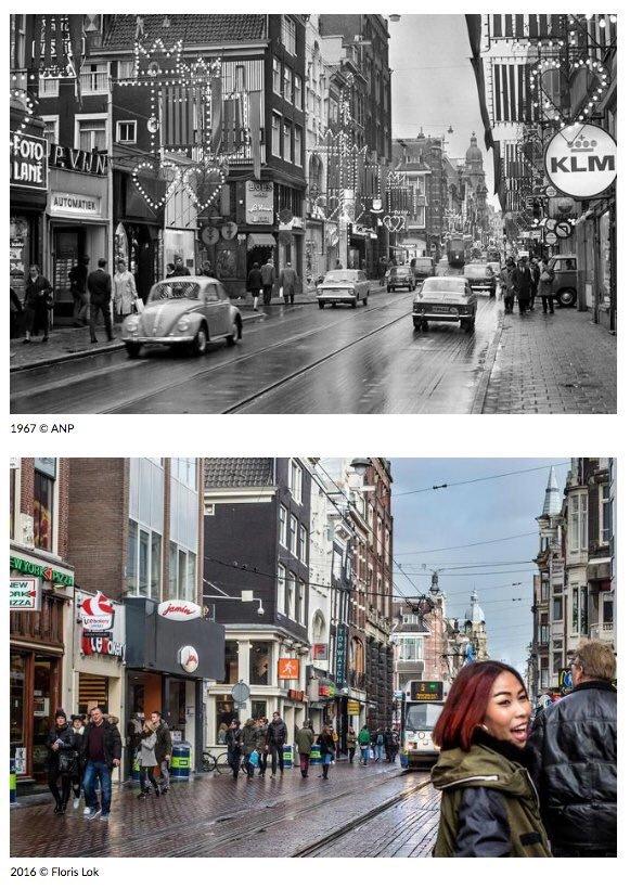 Foto van een straat in Amsterdam in 1967 en 2016,