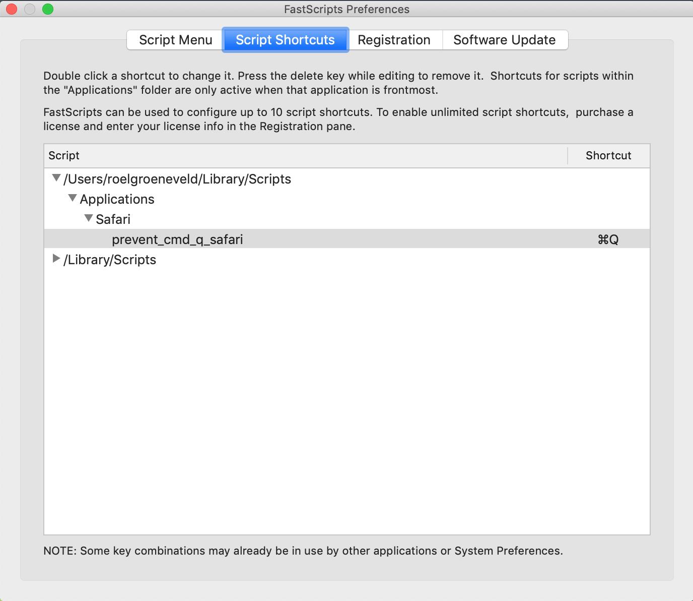 Screenshot van de FastScripts voorkeuren