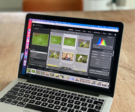 Lightroom Classic open op een Macbook